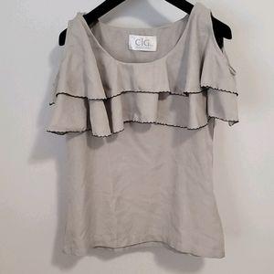 3/$30 Brand New Linen Ruffle Shirt